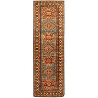 Herat Oriental Afghan Hand-knotted Tribal Super Kazak Wool Runner (2'7 x 8')
