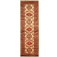 Herat Oriental Afghan Hand-knotted Tribal Super Kazak Wool Runner - 2'9 x 8'7