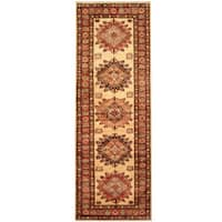 Herat Oriental Afghan Hand-knotted Tribal Super Kazak Wool Runner - 2'8 x 7'10