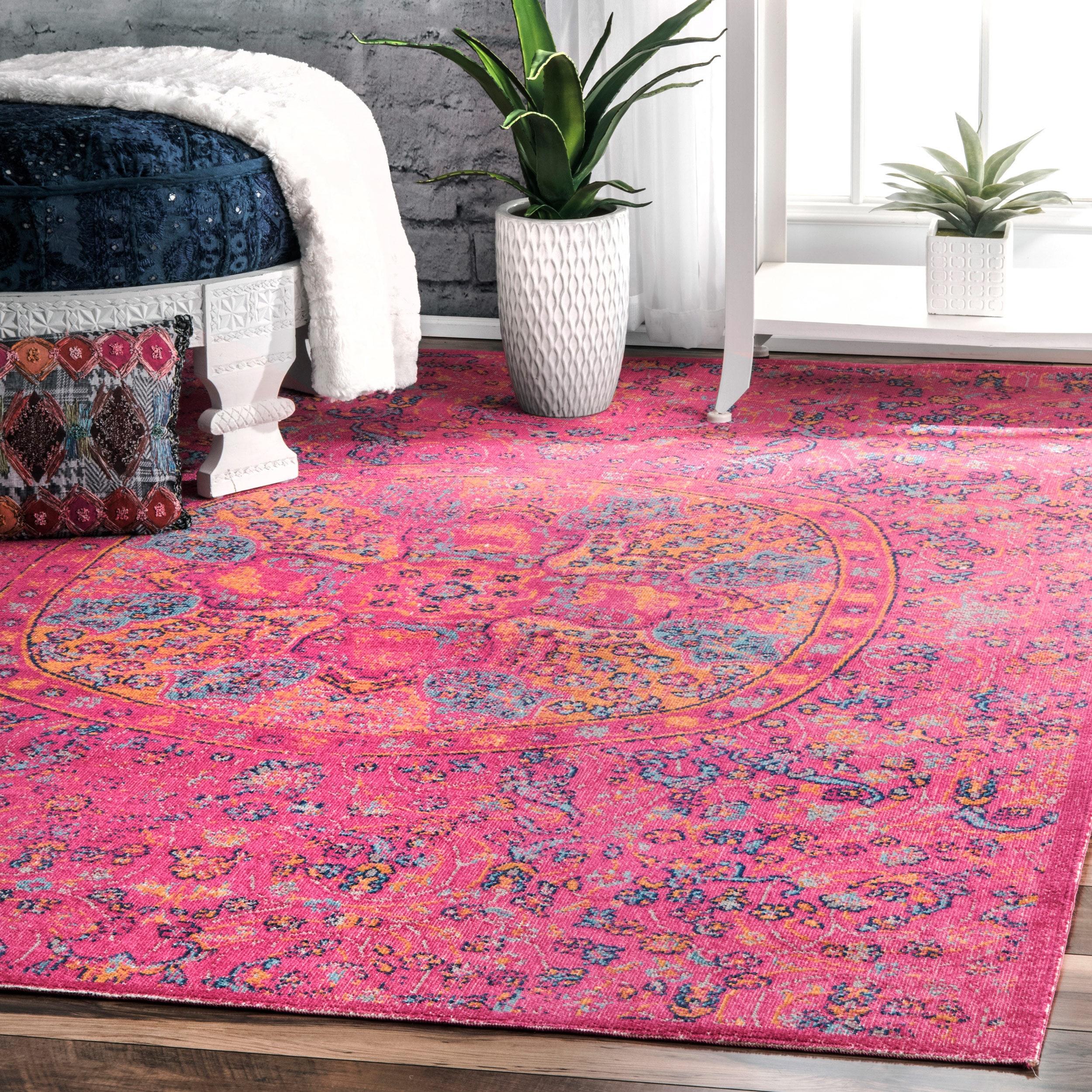 NuLOOM Vintage Floral Mandala Pink Runner Rug (2'6 X 8