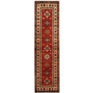 Herat Oriental Afghan Hand-knotted Tribal Super Kazak Wool Runner (2'6 x 9'4)