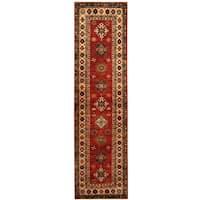Herat Oriental Afghan Hand-knotted Tribal Super Kazak Wool Runner - 2'6 x 9'4