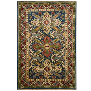 Handmade Kazak Wool Rug (India) - 6' x 9'