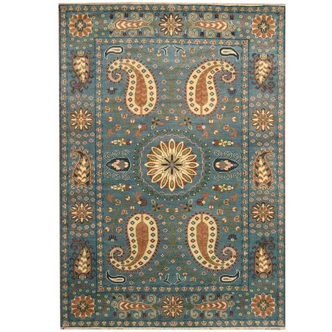 Handmade Kazak Wool Rug (India) - 6' x 9'