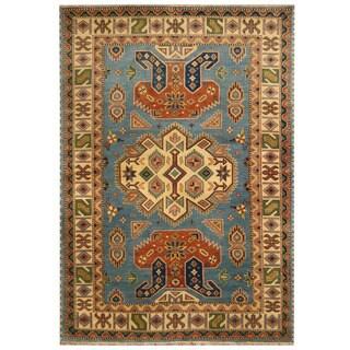 Handmade Herat Oriental Indo Tribal Kazak Wool Rug (India) - 6' x 9'