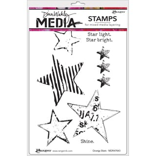 Dina Wakley Media Cling Stamps 6X9-Grungy Stars