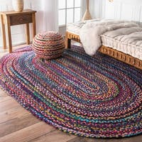 The Curated Nomad Grove Handmade Multicolor Rug - 5' x 8' Oval