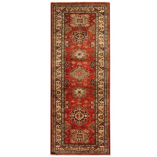 Herat Oriental Afghan Hand-knotted Tribal Super Kazak Wool Runner (2'5 x 6'3)