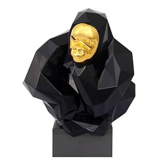 Black and Gold Pondering Ape Sculpture