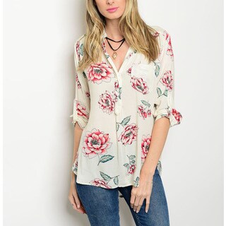 JED Women's Pink and Beige Rayon Floral Collared Long-sleeve Shirt