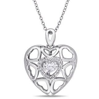 Miadora Sterling Silver White Topaz Accent Multi- Open Heart Necklace