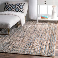 nuLOOM Handmade Braided Natural Fiber Jute and Denim Rug - 7'6 x 9'6