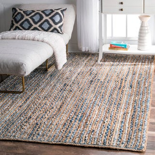 nuLOOM Handmade Braided Natural Fiber Jute and Denim Area Rug