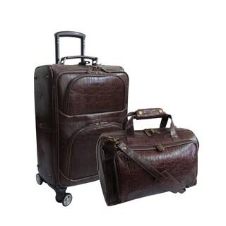 Amerileather Dark Brown Leather Rock Print 2-piece Spinner Luggage Set