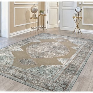 Couristan Cire Floral Medallion/Taupe Rug (2'1 x 3'7)