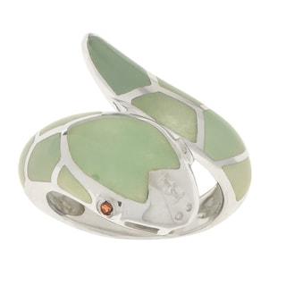 Gems For You Sterling Silver Jade and Garnet Snake Ring