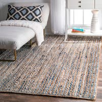 nuLOOM Handmade Braided Natural Fiber Jute and Denim Rug - 4' x 6'