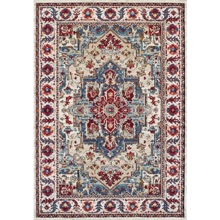 Couristan Vintage Floral Sarouk/Putty-Claret Rug (7'10 x 10'10)