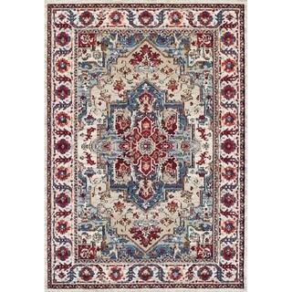 Couristan Sarouk Putty/Claret Vintage Floral Rug (5'3 x 7'6)