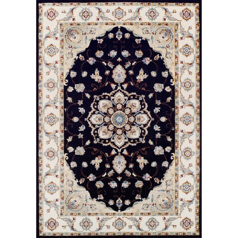 "Couristan Vintage Floral Malayer/Ebony-Sand Area Rug - 5'3"" x 7'6"""