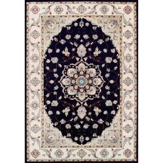 Couristan Vintage Floral Malayer/Ebony-Sand Rug (5'3 x 7'6)