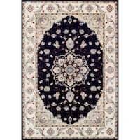 Couristan Vintage Floral Malayer/Ebony-Sand Area Rug - 5'3 x 7'6