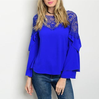 JED Women's Bell Sleeve Crochet and Ruffle Blouse