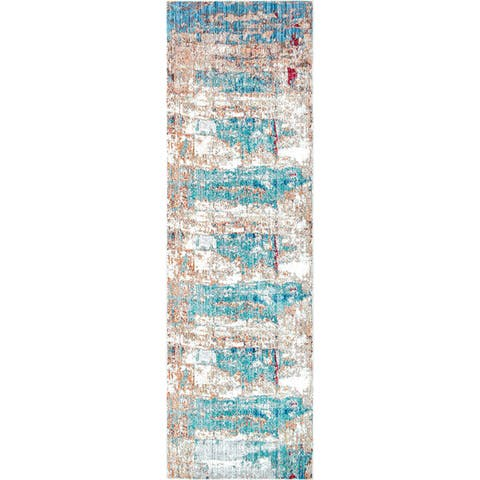 nuLOOM Blue Contemporary Abstract Painting Area Rug