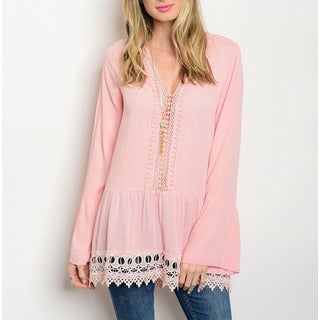JED Women's Blush Bell Sleeve Crochet Tunic