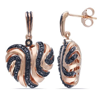 Catherine Catherine Malandrino 1/5ct TDW Black Diamond Heart Swirl Earrings in Rose Plated Sterling Silver with Black Rhodium