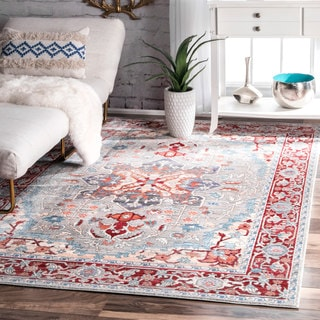 nuLOOM Traditional Vintage Inspired Medallion Red Rug (5'3 x 7'7)