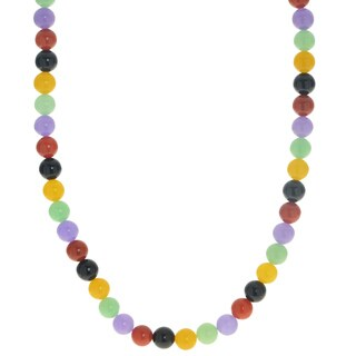 """Gems For You 18"""" Sterling Silver Multi-Color Jade Necklace"""