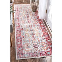 nuLOOM Traditional Vintage Inspired Red Runner Rug - 2'6 x 8'