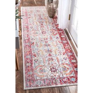 nuLOOM Red Traditional Vintage Inspired Area Rug