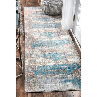 nuLOOM Contemporary Abstract Painting Blue Runner Rug (2'6 x 8')