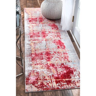 nuLOOM Contemporary Abstract Painting Red Runner Rug (2'6 x 8')