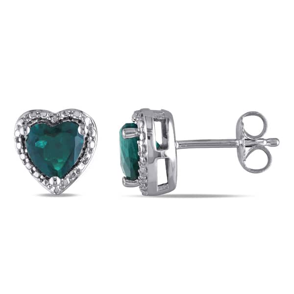 0ae88a534 Miadora Heart-Cut Simulated Emerald and Diamond Illusion Heart Stud Earrings  in Sterling Silver - Green
