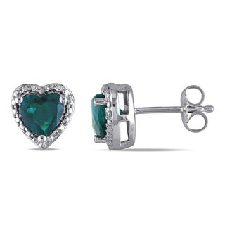 Catherine Catherine Malandrino Heart-Cut Simulated Emerald and Diamond Illusion Heart Stud Earrings in Sterling Silver