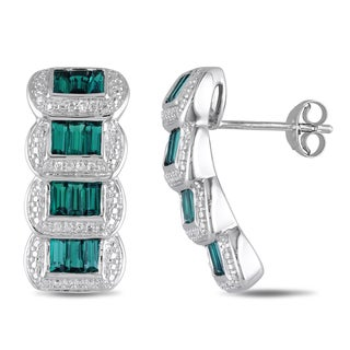 Miadora Baguette-Cut Simulated Emerald and Diamond Illusion Graduated Drop Earrings in Sterling Silver - Green