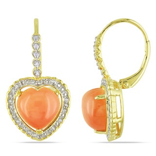 Catherine Catherine Malandrino Heart-Cut Orange Moonstone and Diamond Leverback Earrings in Yellow Plated Sterling Silver