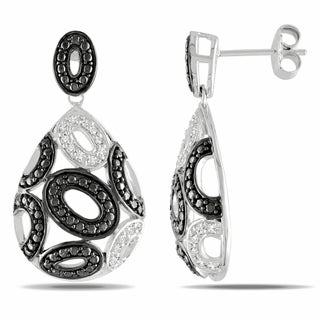 Catherine Catherine Malandrino 1/4ct TDW Diamond Teardrop Open Disc Drop Earrings in Sterling Silver with Black Rhodium