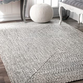 Oliver James Rowan Handmade Grey Braided Area Rug 3