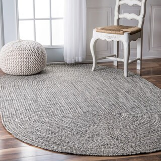 Oliver & James Rowan Handmade Grey Braided Area Rug (4' x 6' Oval)