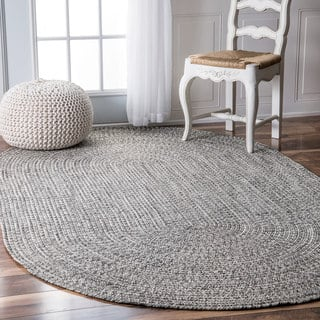 Nuloom Handmade Casual Solid Braided Oval Indoor Outdoor Rug 5 X 8