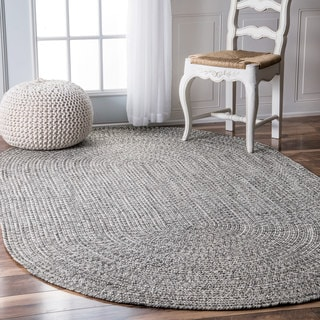 nuLOOM Handmade Casual Solid Braided Oval Indoor/Outdoor Rug (7'6 x 9'6 Oval)