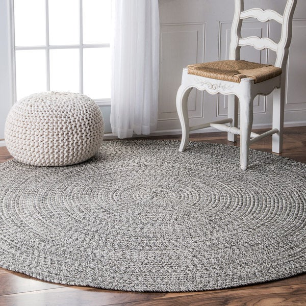 Oliver James Rowan Handmade Grey Braided Area Rug 8 X27 Round