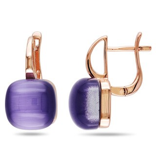 Catherine Catherine Malandrino Square Cabochon-Cut Simulated Purple Cat Eye Clip-on Earrings in Rose Plated Sterling Silver