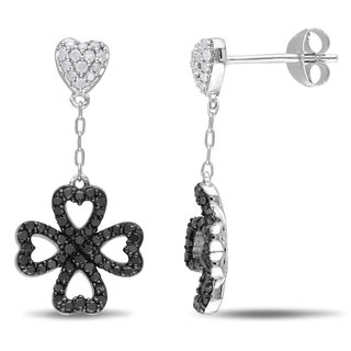 Miadora 1/2ct TDW Black & White Diamond Clover Heart Earrings Sterling Silver with Black Rhodium