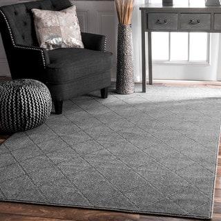 nuLOOM Contemporary Handmade Trellis Grey Rug (8'6 x 11'6)