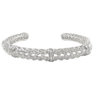 Luxiro Sterling Silver Cubic Zirconia Filigree Cuff Bangle Bracelet